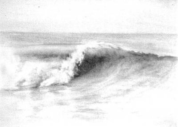 Waves Greeting Card featuring the drawing Goldenwest by Philip Fleischer