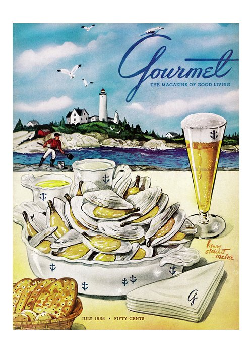 Entertainment Greeting Card featuring the painting Gourmet Cover of Clams and Beer by Henry Stahlhut