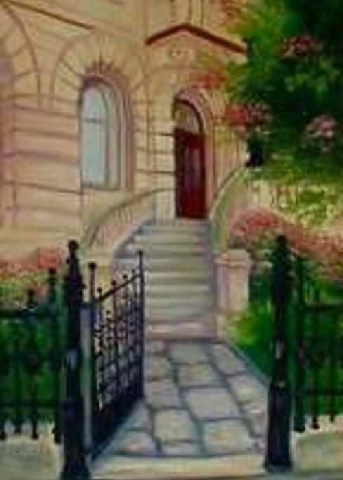 Whimsy Greeting Card featuring the painting Gothenburg Sweden Downtown Gate by L Risor
