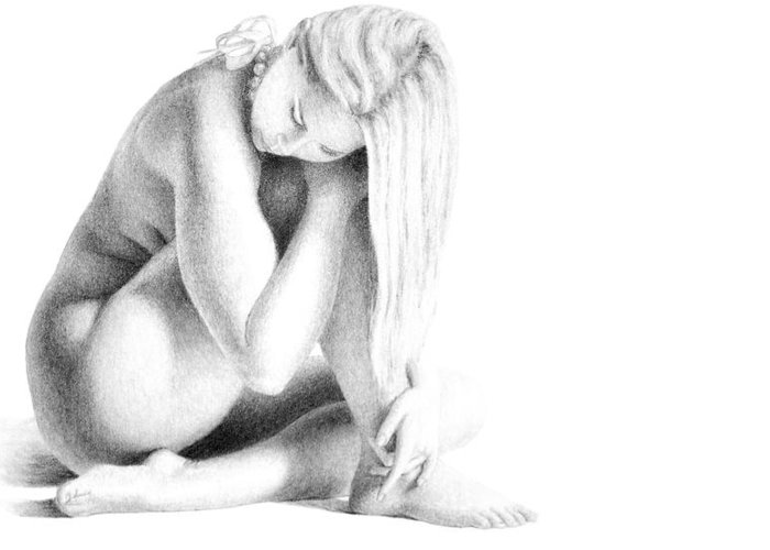 Print Greeting Card featuring the drawing Grace Of Form print only by Joseph Ogle