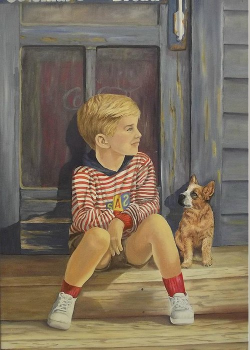 A Young Boy And His Dog Greeting Card featuring the painting Grandpas Country Store by Wanda Dansereau
