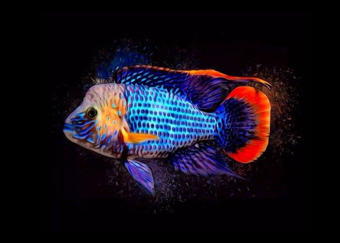Green Terror Greeting Card featuring the digital art Green Terror Cichlid Fish by Scott Wallace Digital Designs