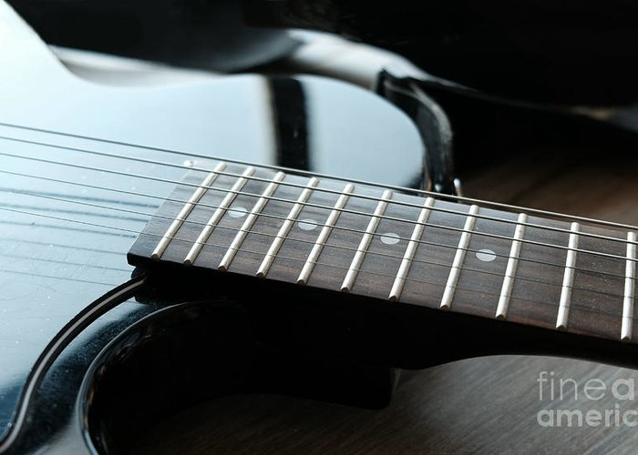 Guitar Greeting Card featuring the photograph Guitar Fingerboard Or Fretboard Closeup by Luca Lorenzelli