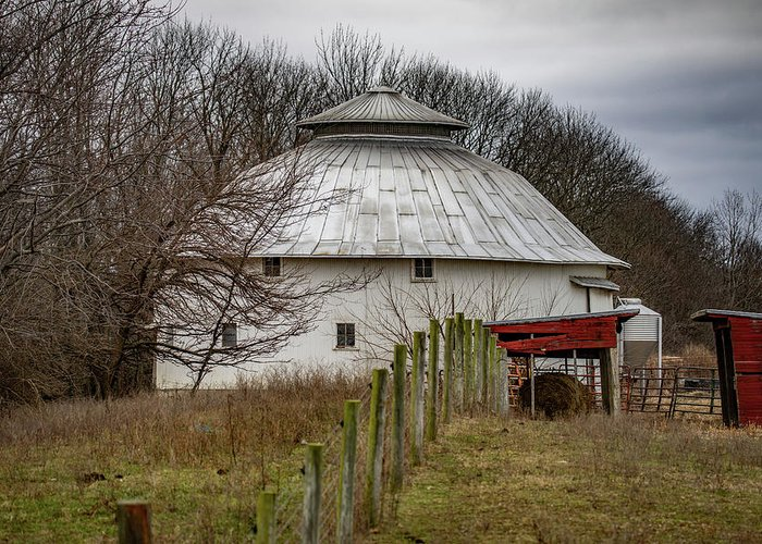 Landscape Greeting Card featuring the photograph Gwinnup Round Barn #3 by Scott Smith