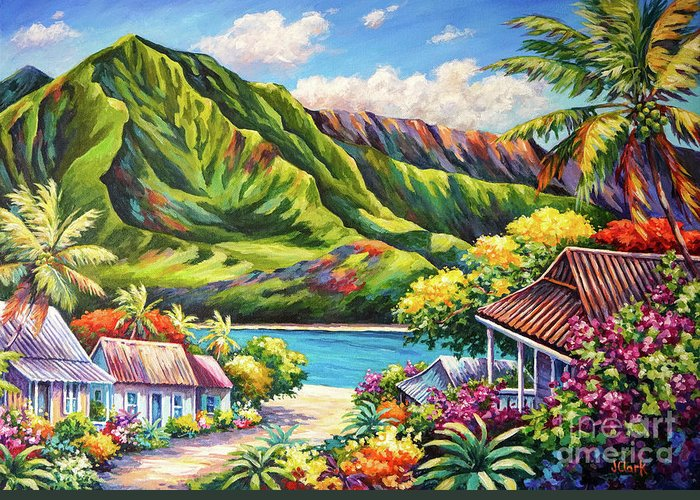 Kauai Greeting Card featuring the painting Hanalei in Bloom by John Clark