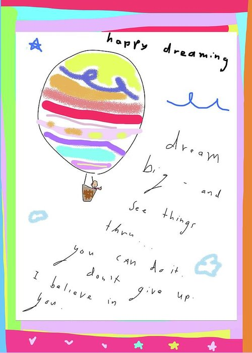 Whimsical Greeting Card featuring the drawing Happy Dreaming by Ashley Rice