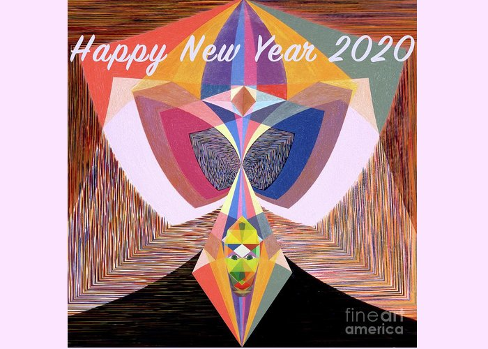 Art Greeting Card featuring the painting Happy New Year 2020 by Michael Bellon