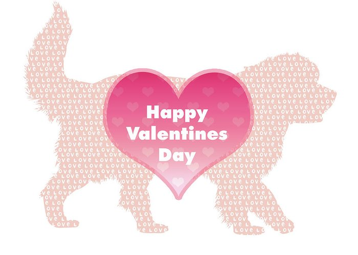 Newf Greeting Card featuring the digital art Happy Valentines Day Newfie Card by Christine Mullis