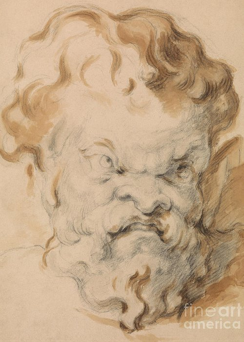 Head Of Silenus Greeting Card featuring the drawing Head Of Silenus by Paul Cezanne