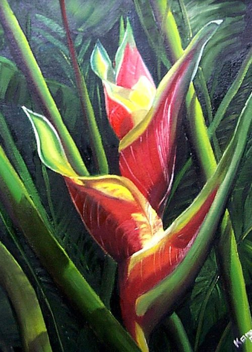 Tropical Floral Flower Heliconia Caribbean Painting Tropical Painting Botanical Painting Greeting Card featuring the painting Heliconia by Karin Dawn Kelshall- Best