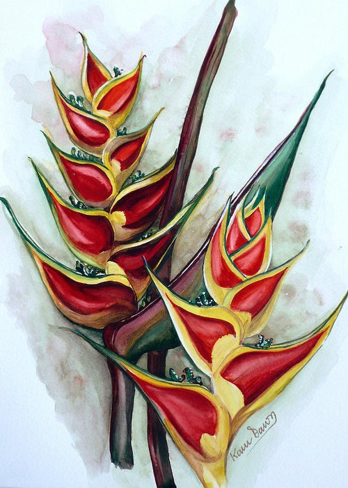 Caribbean Painting Flower Painting Floral Painting Heliconia Painting Original Watercolor Painting Of Heliconia Bloom  Trinidad And Tobago Painting Botanical Painting Greeting Card featuring the painting Heliconia Tropicana Trinidad by Karin Dawn Kelshall- Best