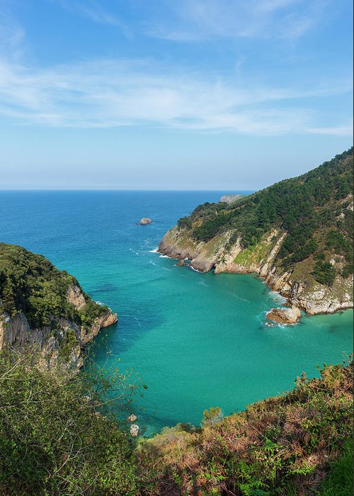 Color Greeting Card featuring the photograph Hidden Cove In Pechon, Cantabria by Vicen Photography