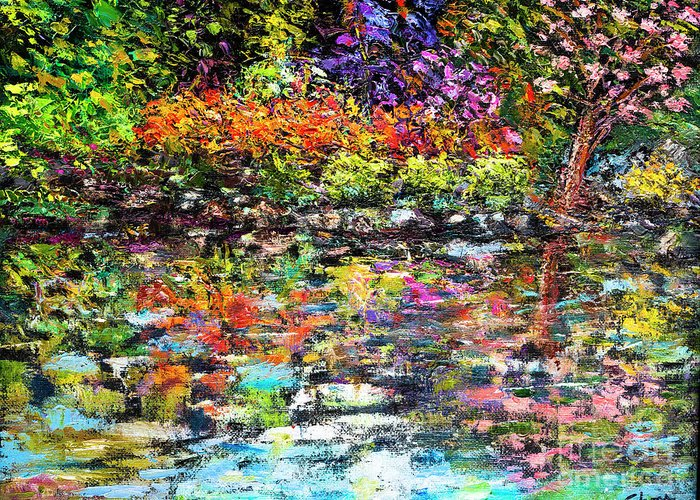 Art - Oil On Canvas Greeting Card featuring the painting Hidden Peace by Sher Nasser Artist