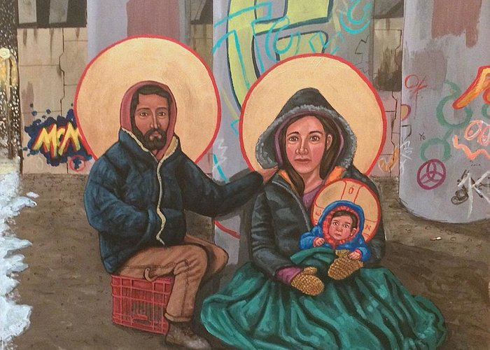 Greeting Card featuring the painting Holy Family of the Streets by Kelly Latimore