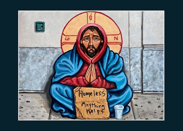 Greeting Card featuring the painting Homeless Christ by Kelly Latimore