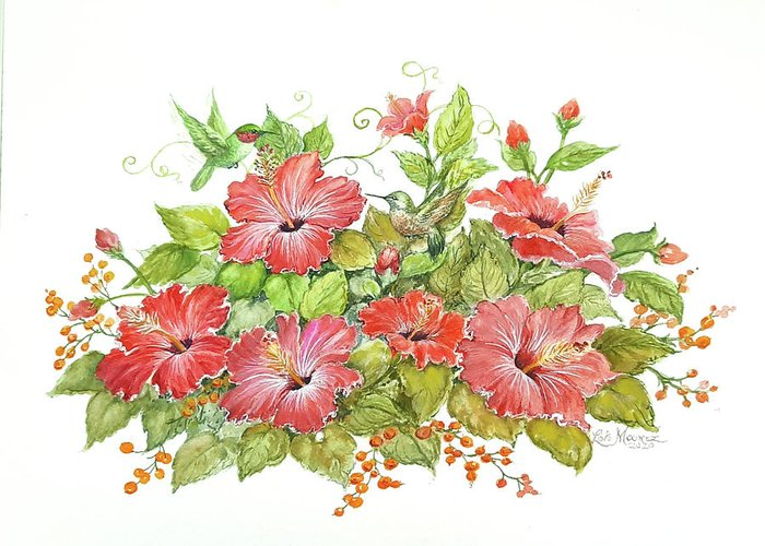 Hummingbirds Greeting Card featuring the painting Hummers 'n Hibiscus by Lois Mountz