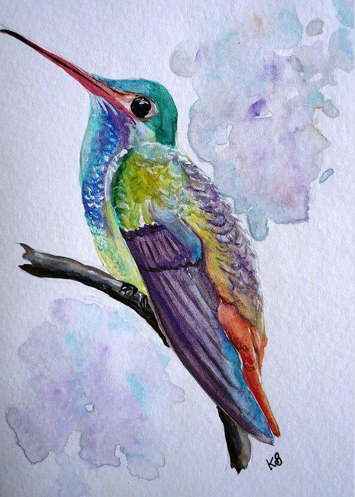 Humming Bird Painting Bird Painting Tropical Painting Caribbean Painting Greeting Card featuring the painting Hummingbird 1 by Karin Dawn Kelshall- Best