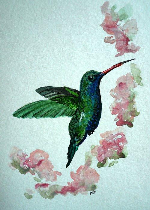 Hummingbird Painting Tropical Bird Green Bird Painting Greeting Card featuring the painting Hummingbird 4 by Karin Dawn Kelshall- Best