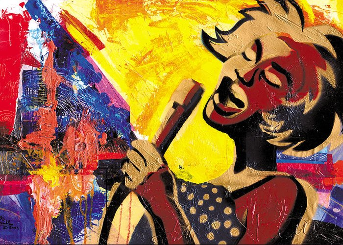 Everett Spruill Greeting Card featuring the painting I Sings Da Blues by Everett Spruill