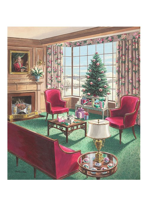 Greeting Card featuring the painting Illustration Of A Christmas Living Room Scene by Urban Weis