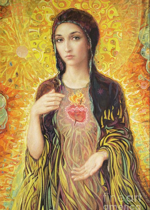 Immaculate Heart Of Mary Greeting Card featuring the painting Immaculate Heart of Mary olmc by Smith Catholic Art
