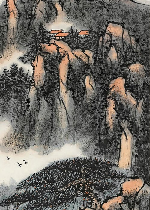 Lai Shaoji Greeting Card featuring the painting In    He Became A Sea Of Mountains And A Sea Of Blood  by Lai Shaoji