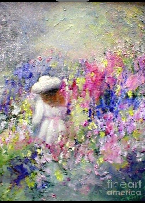 Impressionism Greeting Card featuring the painting In The Garden by Gail Kirtz