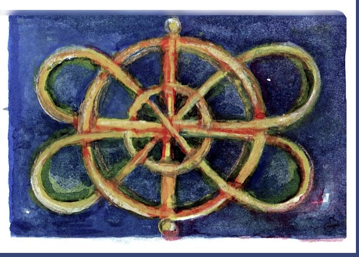 Miniature Greeting Card featuring the painting Infinity Loops by Elle Smith Fagan