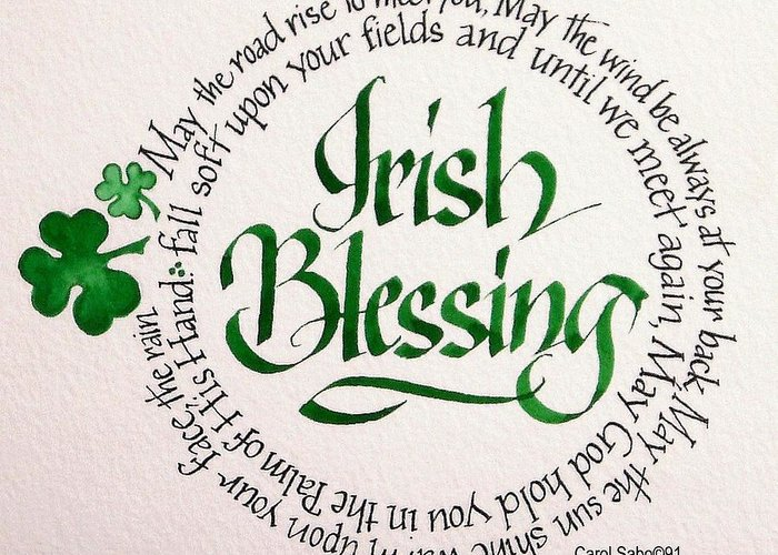 Art Greeting Card featuring the painting Irish Blessing Round by Carol Sabo