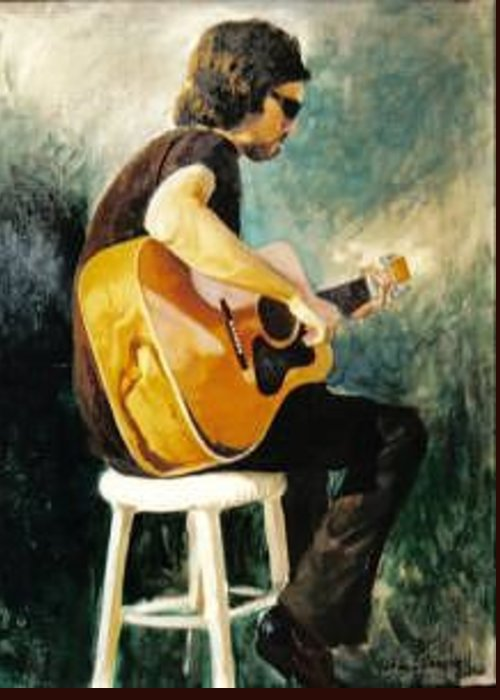 Blues Man On Stool Greeting Card featuring the painting Jesse1 by John L Campbell