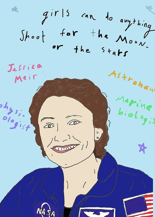 Girl Power Greeting Card featuring the drawing Jessica Meir by Ashley Rice