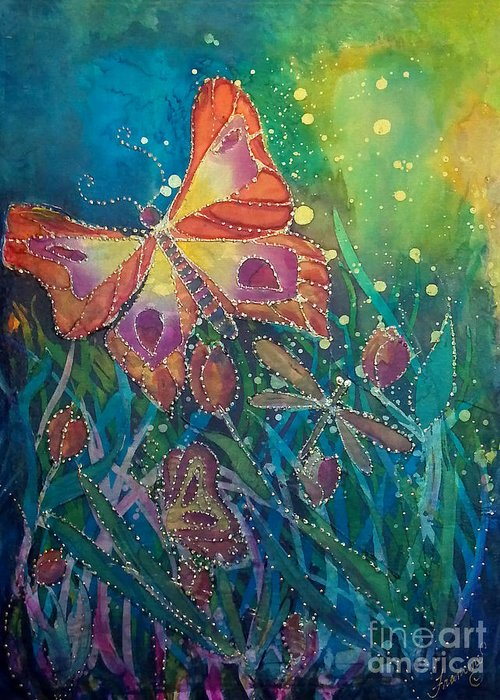 Silk Painting Greeting Card featuring the painting Jeweled Butterfly Fantasy by Francine Dufour Jones