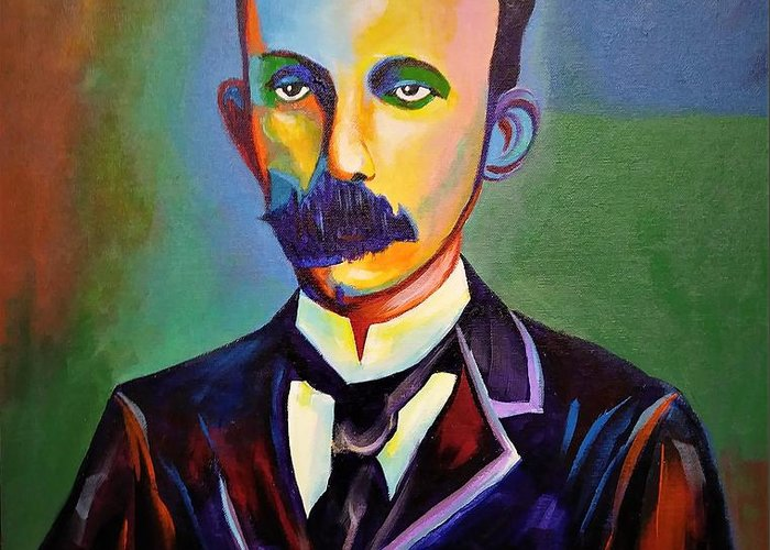 Cuban Art Greeting Card featuring the painting J.Marti by Jose Manuel Abraham