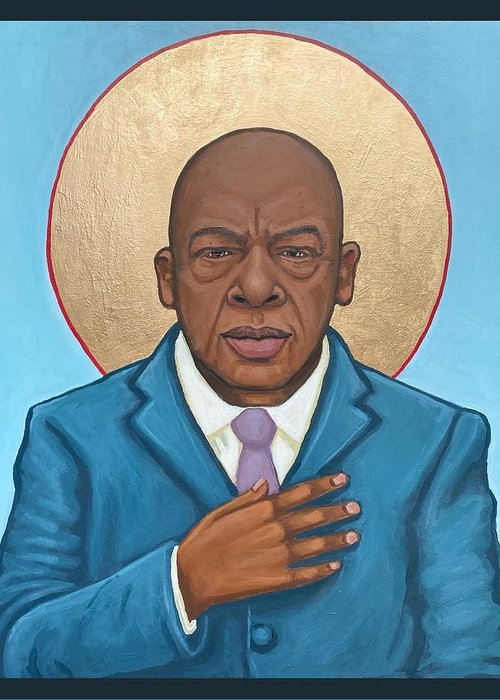 Greeting Card featuring the painting John Lewis by Kelly Latimore