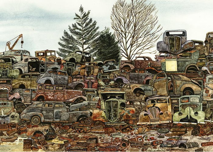 Old Cars Greeting Card featuring the painting Junkyard No.1 by Ron Morrison