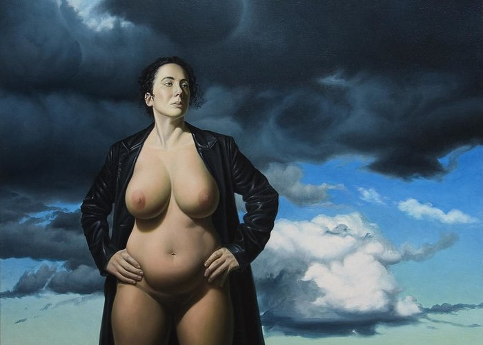 Female Nude Greeting Card featuring the painting Just A Girl A Coat And Some Clouds by Gary Hernandez
