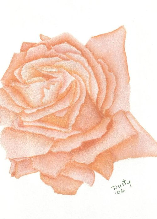 Rose Greeting Card featuring the drawing Just Peachy by Dusty Reed