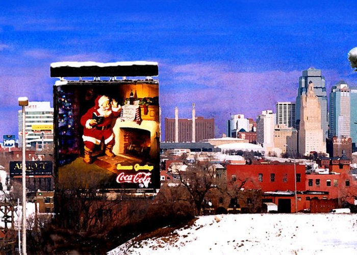City Greeting Card featuring the photograph Kansas City Skyline at Christmas by Steve Karol
