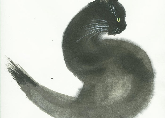 A Black Cat With Green Eyes Is Looking Intensely Ahead. It's A Simple Contemporary Chinese Brush Painting On Rice Paper. Greeting Card featuring the painting Keen by Mui-Joo Wee