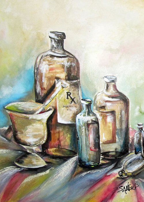 Pharmaceuticals Greeting Card featuring the painting Kindered Spirits SOLD by Amanda Sanford