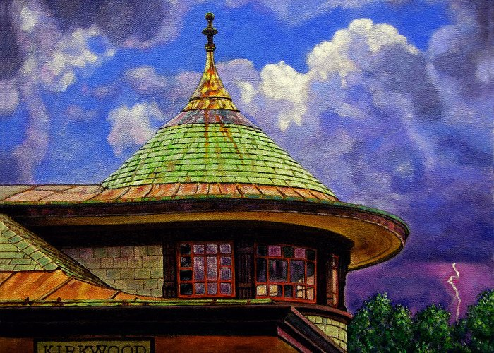 Kirkwood Greeting Card featuring the painting Kirkwood Train Station by John Lautermilch