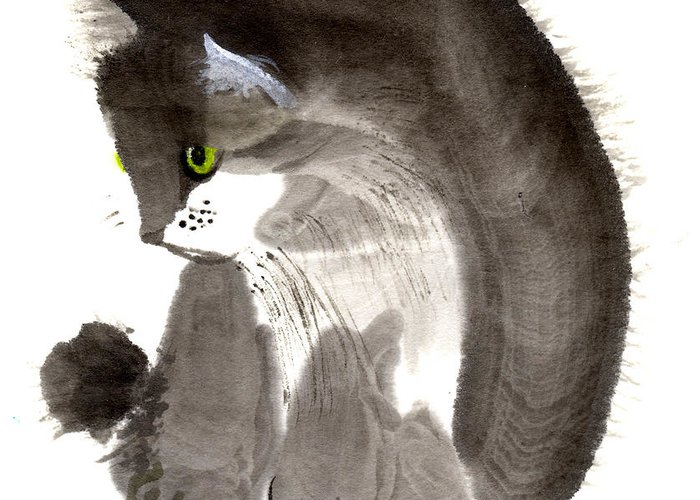 A Kitten Is Looking Attentively. This Is A Contemporary Chinese Ink And Color On Rice Paper Painting With Simple Zen Style Brush Strokes.  Greeting Card featuring the painting Kitten by Mui-Joo Wee