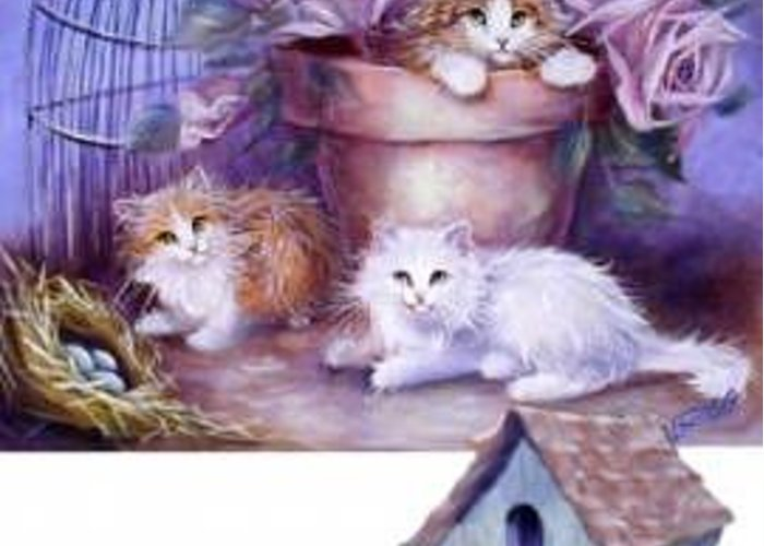 Whimsy Greeting Card featuring the painting Kitty Fluff by L Risor