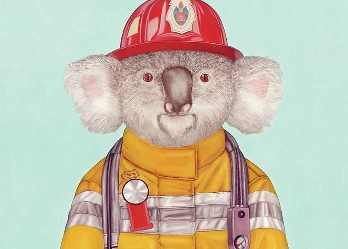 Greeting Card featuring the painting Koala Firefighter by Animal Crew