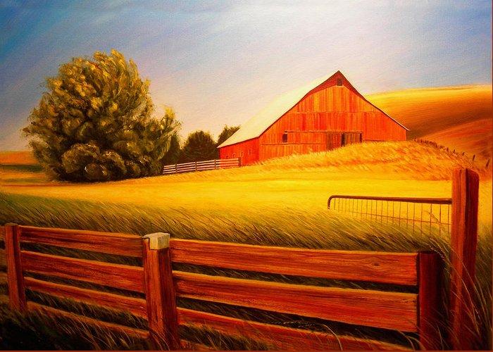 Wheat Greeting Card featuring the painting La Crosse Barn by Leonard Heid