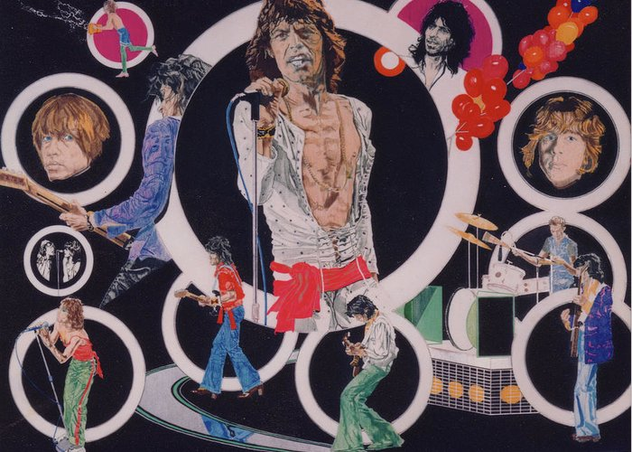 The Rolling Stones Greeting Card featuring the drawing Ladies And Gentlemen - The Rolling Stones by Sean Connolly