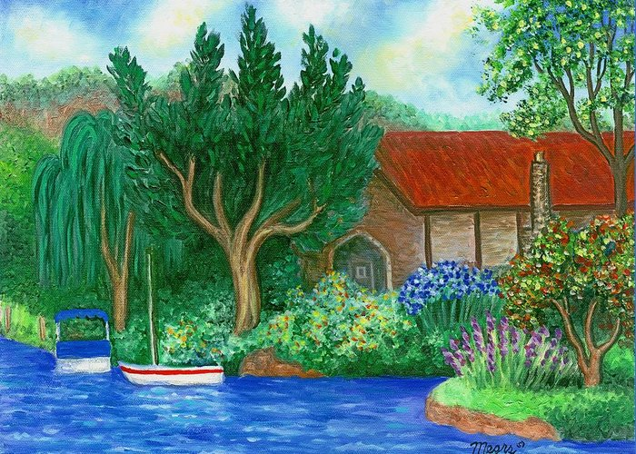Lake Greeting Card featuring the painting Lake Cottage by Linda Mears