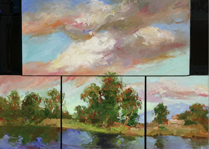 Murals Greeting Card featuring the painting Last of Sand Creek - Plein Air by Betty Jean Billups
