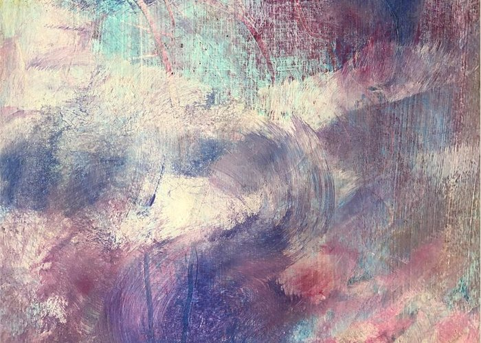 Abstract Greeting Card featuring the painting Lavender Fields by Carolyn Rhinebarger