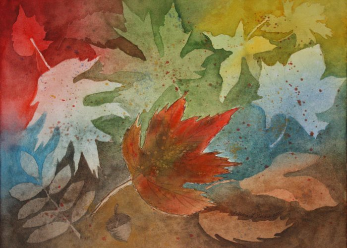 Leaves Greeting Card featuring the painting Leaves II by Patricia Novack